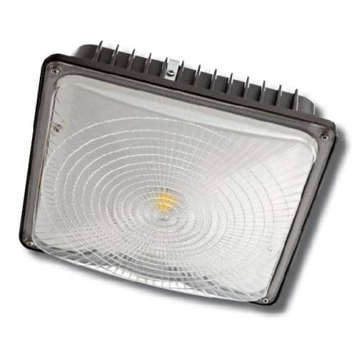 """CPLED-80W-5K, 10""""x10"""" LED canopy light, steel housing, PC lens. Low profile supports surface or pendant installation."""