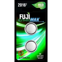 Fuji Battery CR2016, Two-coin size Li-Ion cells in blister packaging