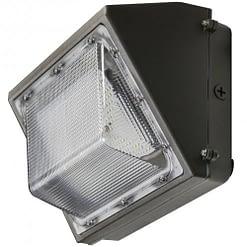 "LEDWP60SN semi-cutoff wall pack, 60W, 14""x8"" aluminum housing with PC lens."