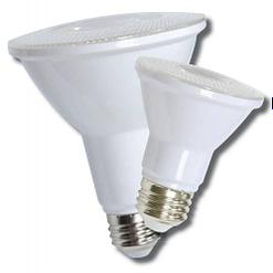 12-LEDPAR30-9W-D PAR shape 9W LED dimmable light bulb. Edison E-26 medium screw base fits standard socket.