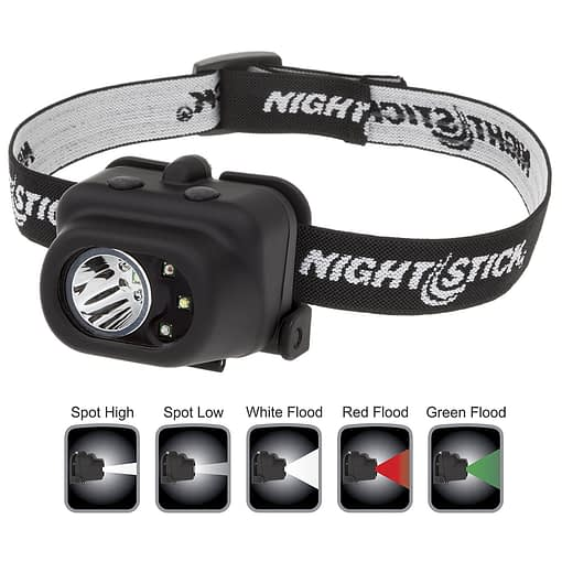 NSP-4610B Multi-function Headlamp with white LED spotlight plus white, red, green LED floodlight, Dual Light operation.