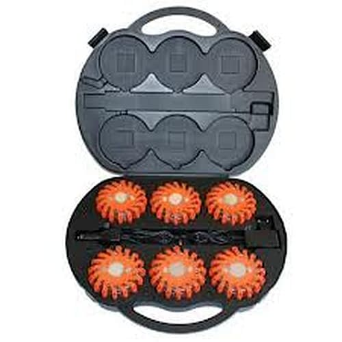 LED Road Flare Kit Six hockey puck size electronic flares, 5 color options and 9 light patterns in AC-DC charging case.