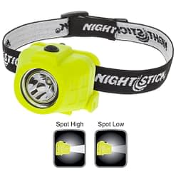 XPP5452G Intrinsically Safe Headlamp, waterproof polymer body, high-low beam 180-90lm, spotlight, single switch, white LED