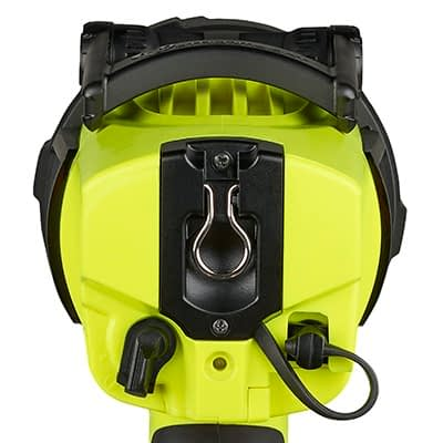 Waypoint 300 Rechargable Spotlight rear view with lanyard connection and USB plugin