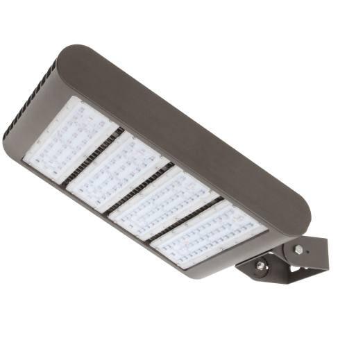 "LED Area Light LEDMPAL220. Flood or street luminaire. DIMS 12""x17"", 220W, aluminum housing with heat resistant PC lens."