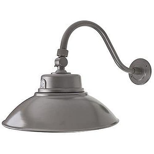 BL-GSNKYD-42W Gooseneck light, white or black with 14-inch aluminum shade, curved attachment arm and photosensor.