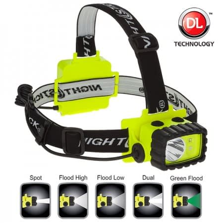 XPP5458G Intrinsically Safe Headlamp, waterproof polymer body, spot-floodlight-dual light, white-green LED, single switch