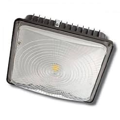 "CPLED-80W-5K, 10""x10"" LED canopy light, steel housing, PC lens. Low profile supports surface or pendant installation."