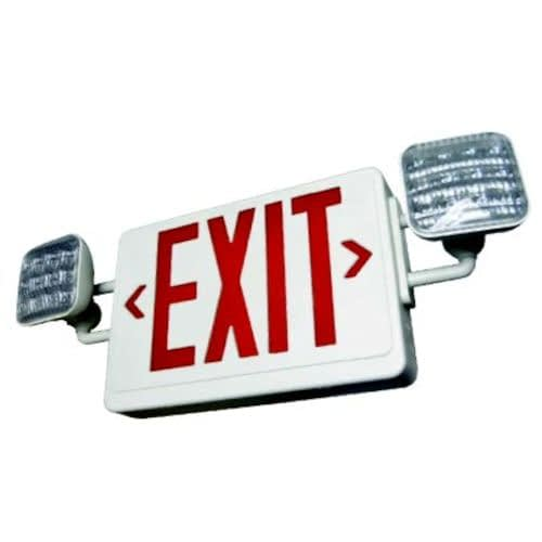 LED Emergency Light LEDCXTEU, Two 1W White Lamps Plus Red or Green Exit Sign, 90 Min. NiCad Battery