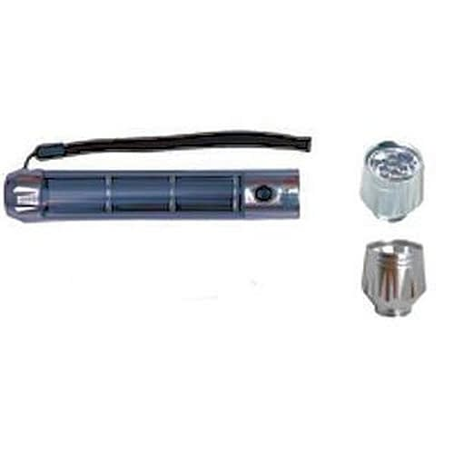 Ultimate Solar Flashlight U988 Aluminum Power cell with interchangeable 90lm spot and 28lm floodlight heads.