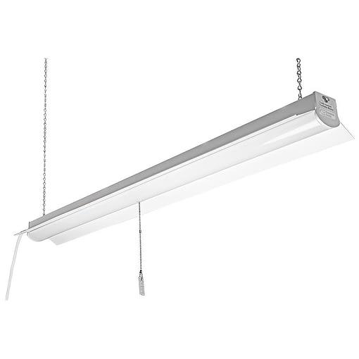 "10-LEDSHOPLITE 48x4"" steel body LED Shop Light. 3 prong AC outlet cord. Surface or suspension installation."