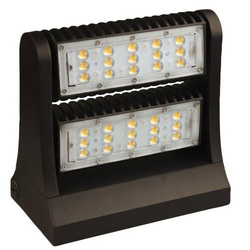 "LEDWPA80 hinge adjustable full cutoff wall pack, 80W, 10""x6"" aluminum housing, impact resistant PC lens. DLC Premium."